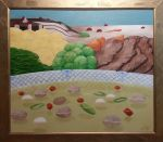 Og så det lange...<BR>Olie på lærred<br>136*155,5 cm incl. ramme<br>Lavet til tema udstilling om Suppe, steg og is<br>2016<br>9500 kr